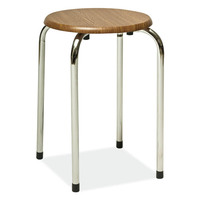 Taboret-chrome&oak